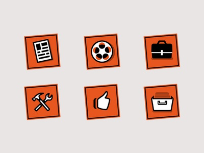Random Icons icons orange illustration