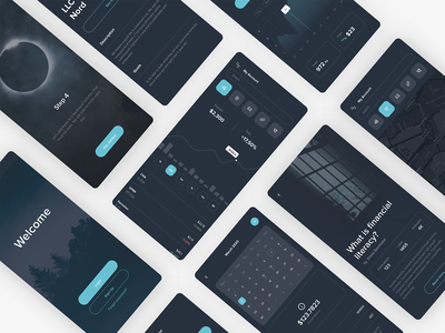 Financial App in Dark Theme finance login map mobile post article calendar uiux minimal chart graphic flat design typography web dark app design app ux ui