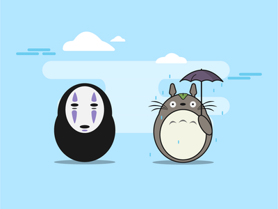 Ghibli Ilustration chihiro totoro cartoon design flat anime ilustration