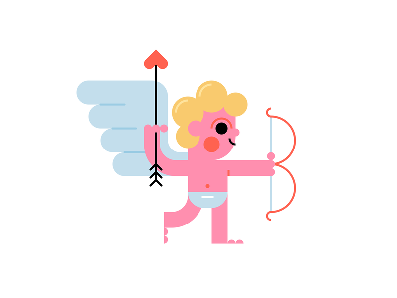 Cupid holiday bow and arrow flying baby valentines day valentine love weapons heart arrow baby illustration cupid