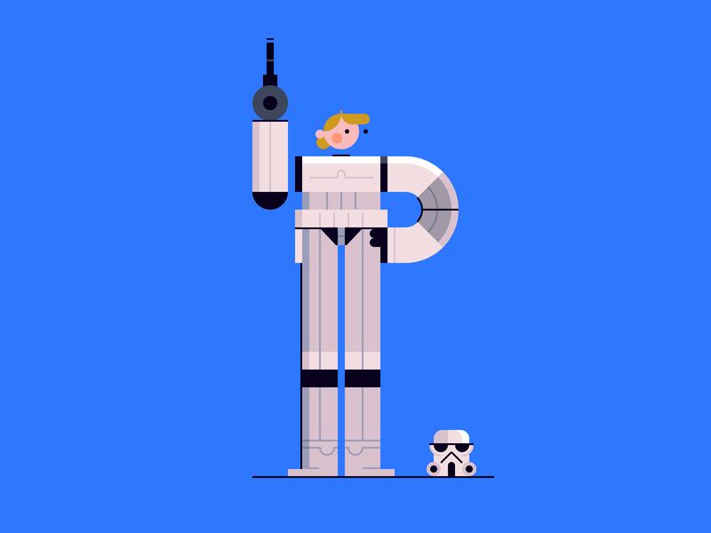 Stormtrooper Luke character design illustration hoth jedi death star light saber return of the jedi empire strikes back luke skywalker a new hope leia may the 4th star wars