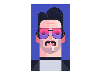 Macho Macho Man macho man macho stud smoking cigarette illustration mustache sunglasses tinted slicked hair guy glasses fellow man character design people