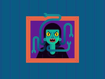 Gorgon medusa snakes gorgon monster october halloween character design holiday illustration