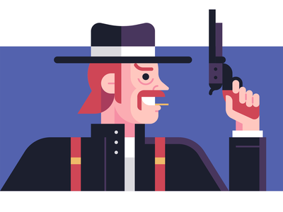 Cowboy old west illustration character design outlaw western cowboy