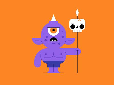 Cyclops spear skull monster cyclops october halloween character design holiday illustration