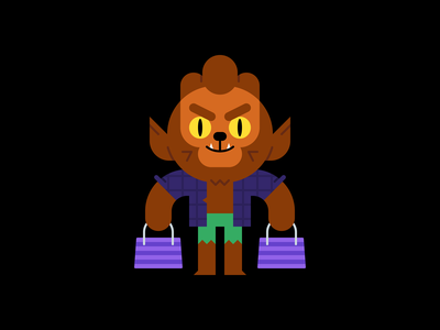 Wolfman shopping werewolf wolfman october fall halloween holiday character design illustration