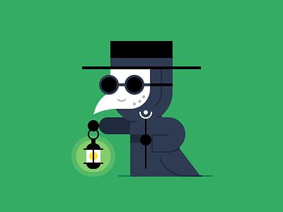Plague Doctor mask lantern plague doctor plague october halloween character design holiday illustration