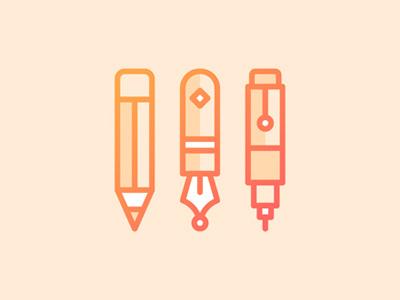 Pens & Pencils Icon line pencil pen icon