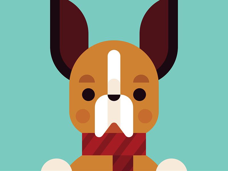 Christmas Pooch #3 scarf puppy pooch illustration holiday dog christmas