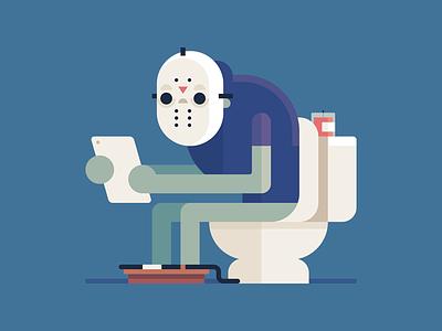Toilet Jason illustration jason voorhees jason fridaythe13th