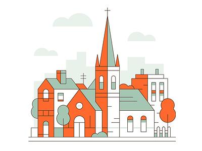 Cities: Part 3 church line art construction buildings town illustration art graphic design city