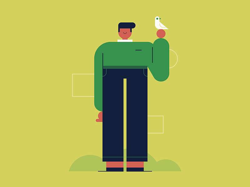 Bird Man sweater character design people bird illustration