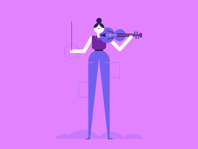 Concerto classical violin orchestra music people character design illustration
