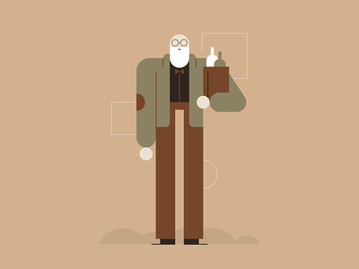 Intoxicated Old Man people professor wine drunk old man character design illustration