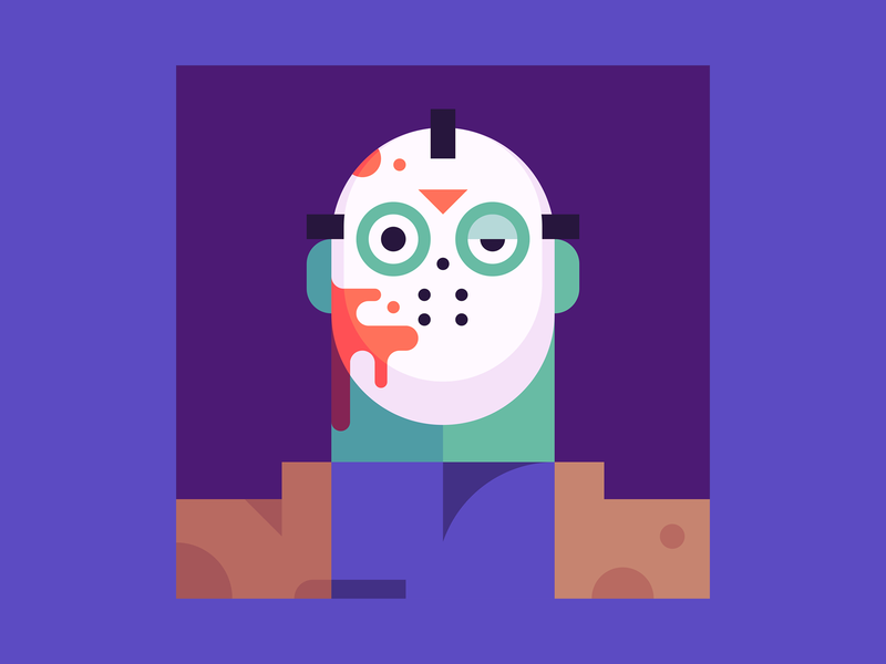Friday the 13th gore guts blood horror hockey mask friday the 13th jason voorhees jason halloween character design illustration