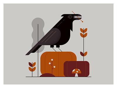 Autumn Crow harvest fall illustration animals autumn pumpkin nature crow wildlife bird