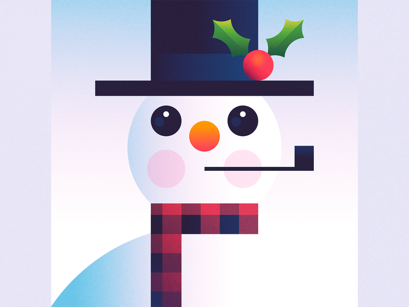 Snowman holiday holiday season christmas scarf winter illustration hat pipe holly snowman