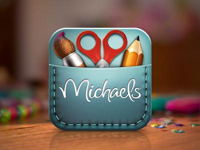 Michaels Create App Icon icon app logo ipad iphone mobile ui pencils scissors paint brush brush stichting crafts michaels