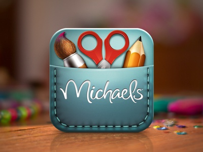 Michaels Create App Icon icon app logo ipad iphone mobile ui pencils scissors paint brush brush stichting crafts michaels