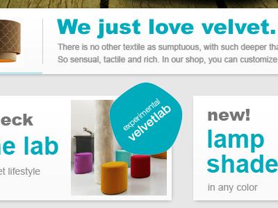 Velvet shop homepage elements