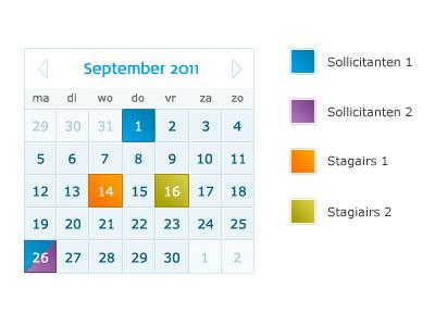 Calendar with legenda
