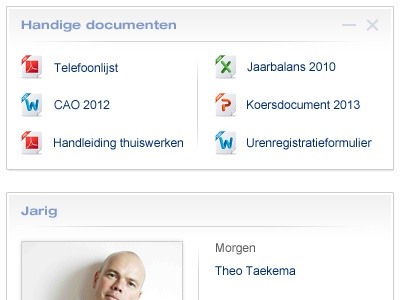 Webpart elements for an intranet