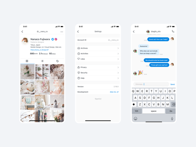 Profile / Settings / Chat
