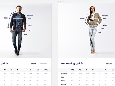 Size Chart size chart sketch ecommerce