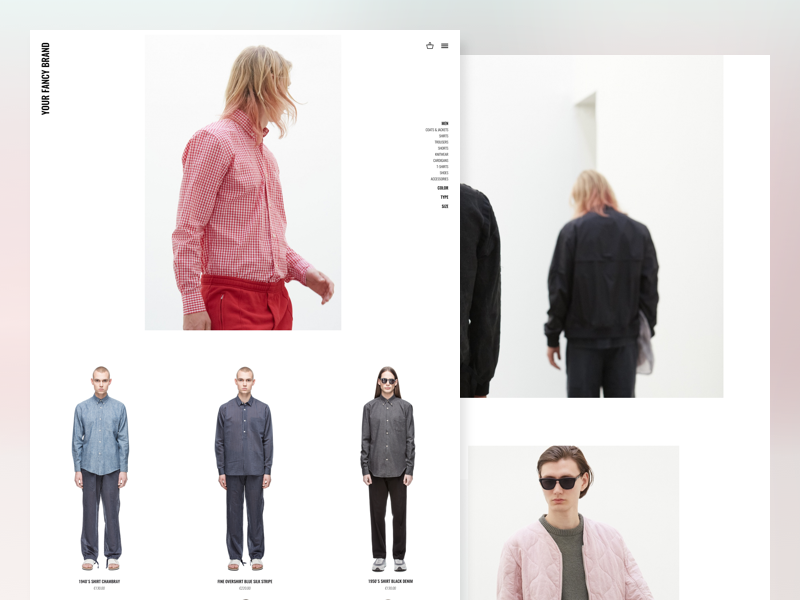 Fashion Ecommerce user interface sketch store e-commerce ecommerce fashion grid layout clean minimal visual ui