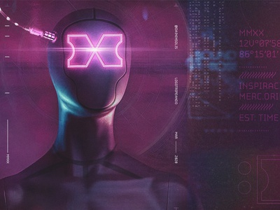 The Xtopia modern logo tech logo logo glow dystopia cyclop cyborg technology techno letter form future nicaragua code futuristic x letter cyber cyberpunk