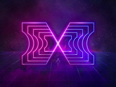 Crossing the threshold logotype digital illustration universe cyberpunk glow neon letter x space portal umbral threshold cosmonaut