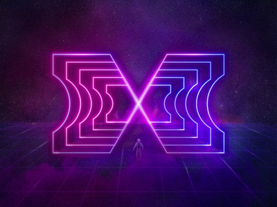 Crossing the threshold logotype digital illustration universe cyberpunk glow neon letter x space portal umbral threshold cosmonaut
