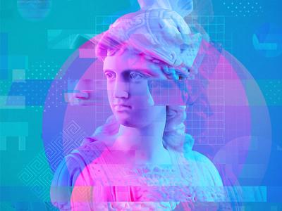 Atenea Digital illustration distort glitch chest sculpture poster poster sculpture illustration logic digital illustration collage sculpture