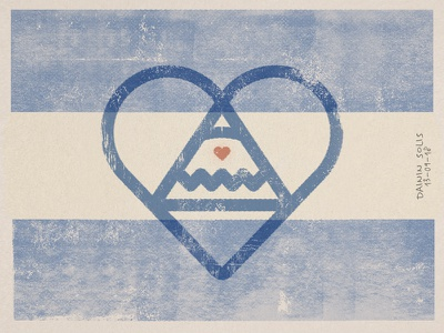 Nica's beating heart revolution resistance independence triangle flag heart illustration nicaragua