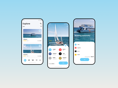 iOS app for yacht rental mobile application mobile app ios app ux design ux  ui ui design design ux ui
