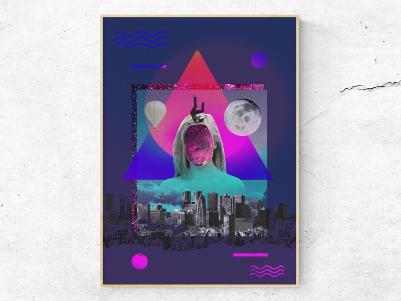 Universe gives a way 2/3 (Poster) abstract art abstract geometric collageart collage image manipulation digital manipulation digital imaging digital art graphic  design bauhaus baugasm poster design poster concept art direction print design print visual art design
