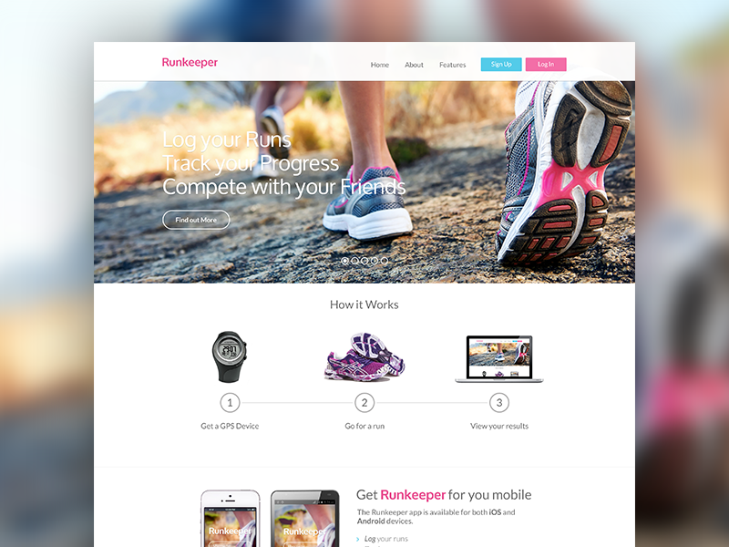 Runkeeper web design user interface hero run running clean minimal