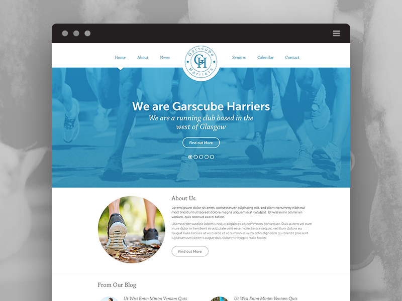 Garscube Harriers chapparal pro running running running club clean minimal white space circle logo museo sans flat