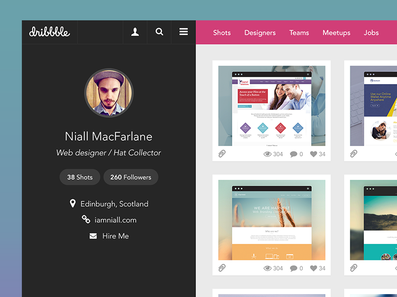 Dribbble Redesign dribbble redesign clean minimal whitespace