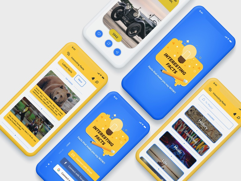 Interesting Facts App UI design blue mobile brand vector clean illustration type ios typography minimal character logo art web app flat design ux ui branding