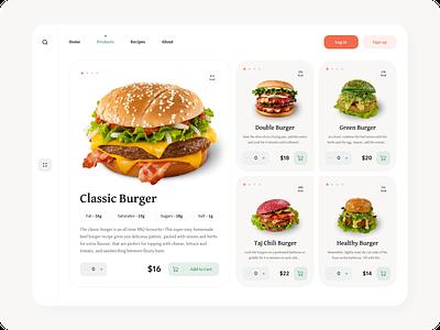 Burger food app food burger website concept web webdesign uiux ux ui design