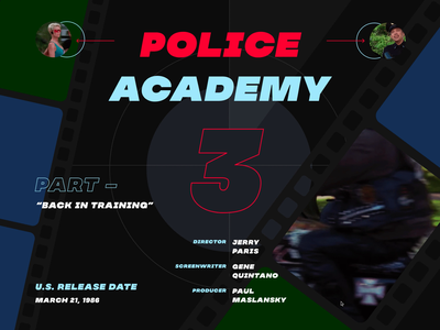 Police Academy Memories policeman poster police academy police banner website concept web webdesign uiux ux ui design