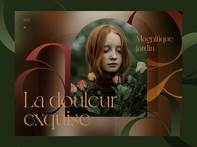 Roses composition girl beautiful roses beauty autumn flowers fashion banner concept web webdesign ux uiux ui
