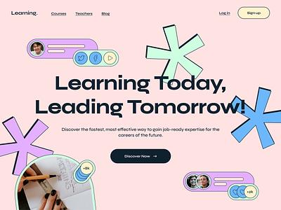 Learning banner art app 2d studying education banner concept web webdesign ux ui uiux design