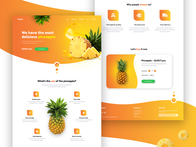 Pineapple Dribble bright colors bright color webdesigner webdesign landing page concept landing design landing  page landing pineapple website web ux ui design