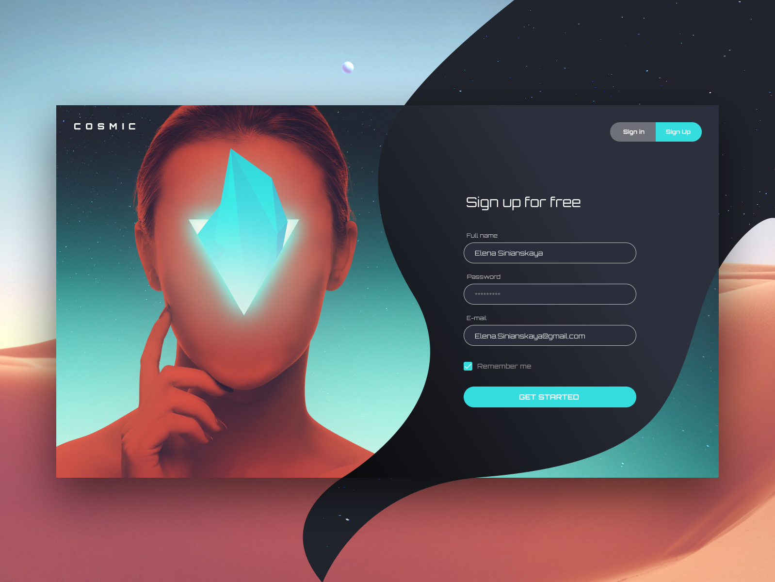 Cosmic Sign Up future space orbit font beautiful ui form design form bright color design bright colors web design sign in form fantastic surrealism sign up form sign up sign in cosmos cosmo