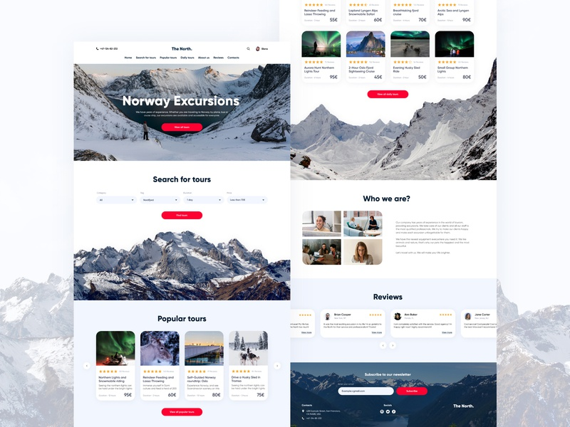 Landing Page Norway Excursions norway travel agency travelling landingpage landing design concept landing page concept landing  page landing webdesign web uiux website ux bright color ui design