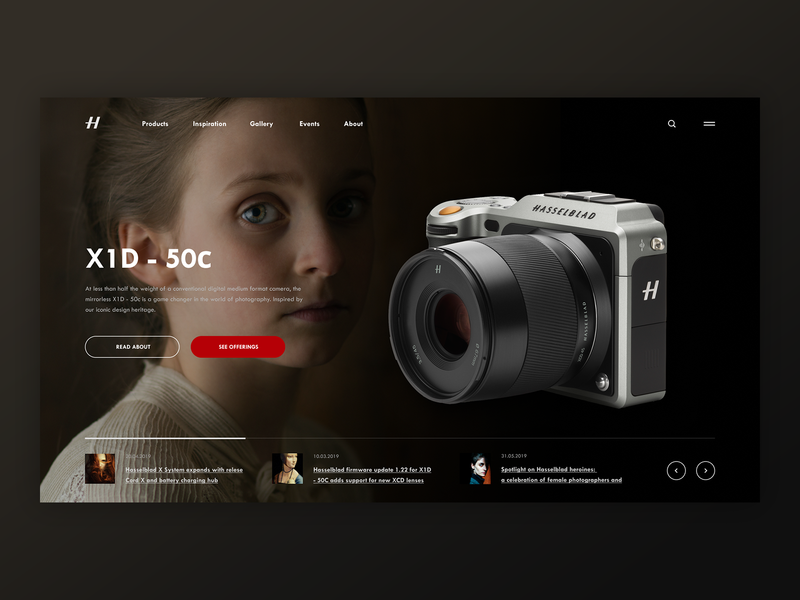 Hasselblad X1D - 50c homepage home mainpage main page slider camera photographer photo hasselblad web banner banner beautiful concept webdesign web uiux website ux ui design