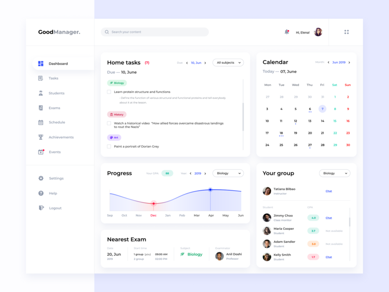 Dashboard - Good Manager light ui white clean ui design clean ui clean clean design beautiful for students study student concept dashboard design dashboard ui dashboard webdesign web uiux ux ui design
