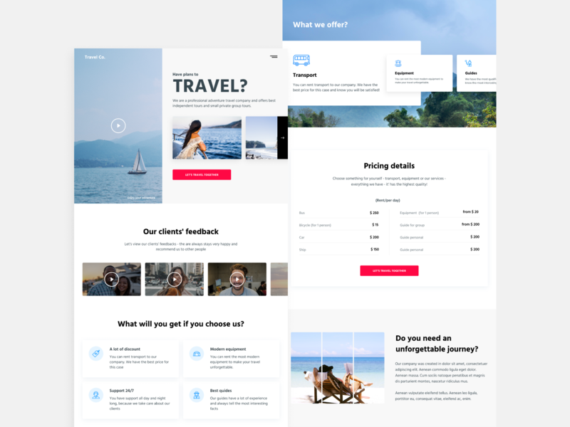 Travel WordPress theme landing page concept landing page design landing page landing wordpress design wordpress theme wordpress travel concept web webdesign ui uiux ux design